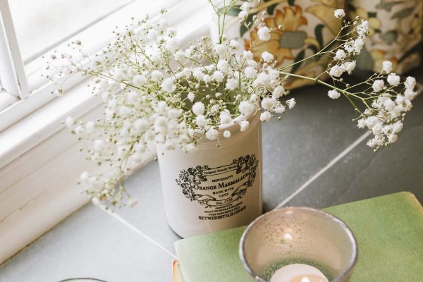 Window sill with items on