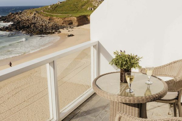 Porthmeor Balcony of 22 Piazza with table and chairs