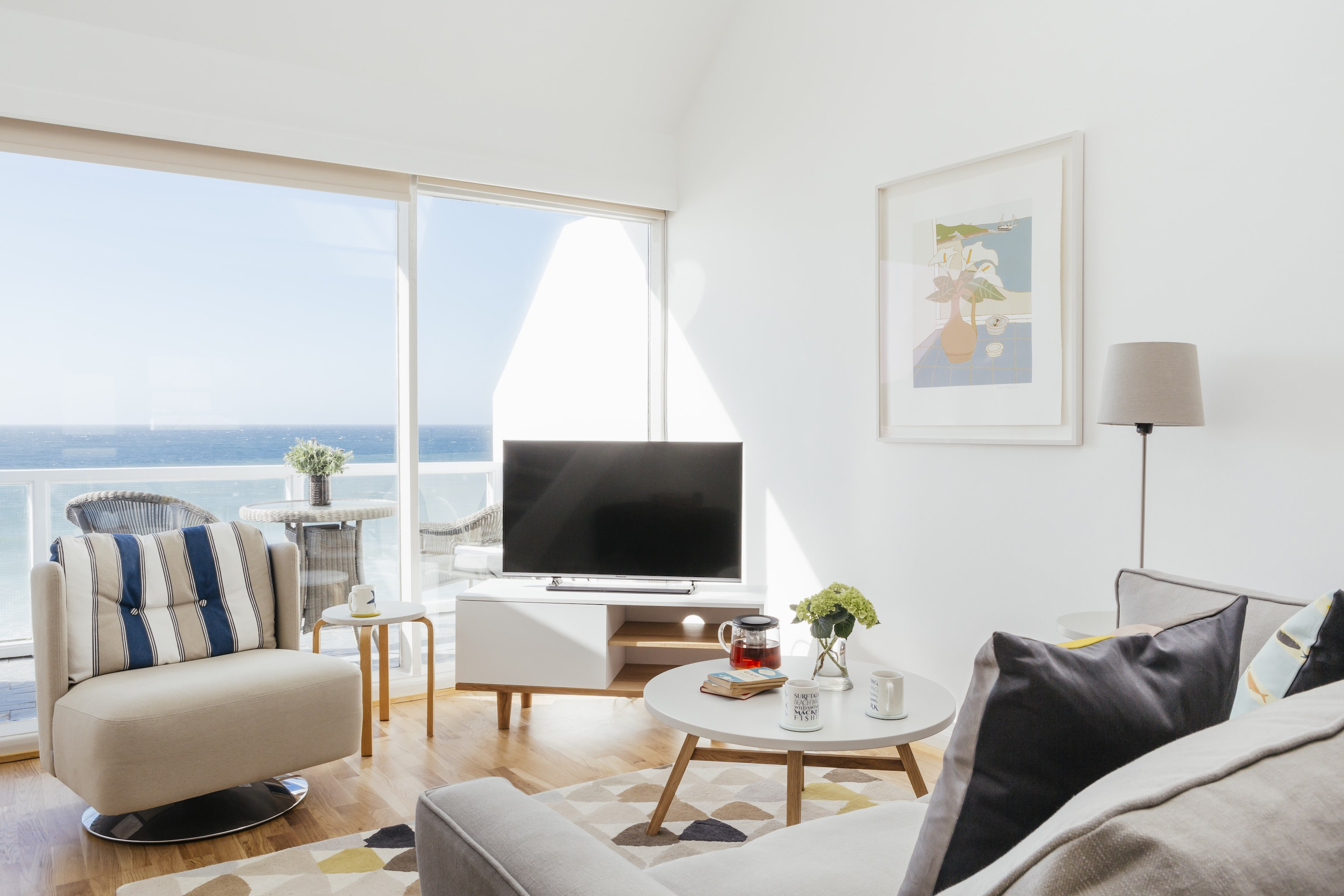 Living area of 22 Piazza St Ives with a view over Porthmeor beach