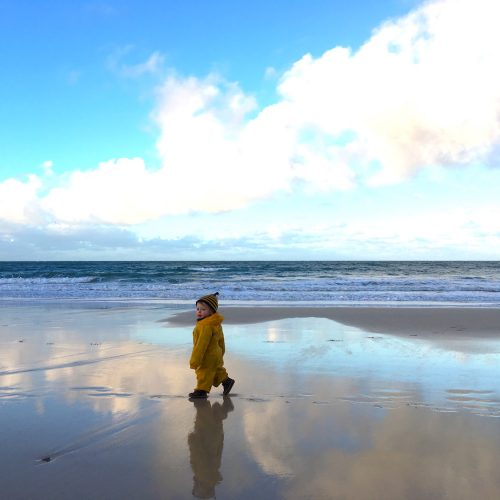 Winter Beach Walk in St Ives with a toddler in waterproofs.